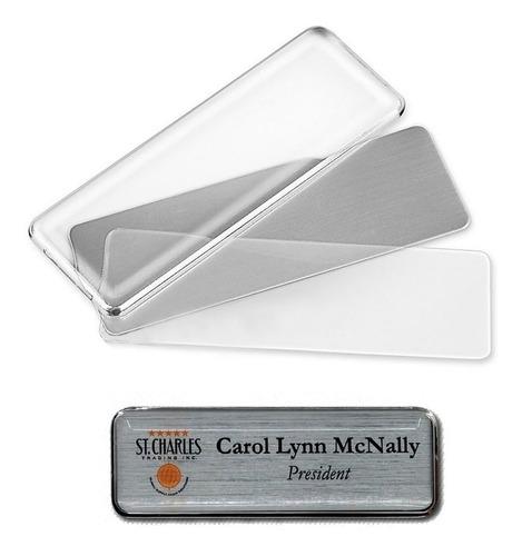 gafete magentico de aluminio personalizable 76x26mm reusable