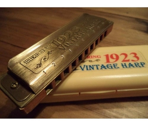 gaita boca harmônica hering vintage harp 1923 c dó dourada
