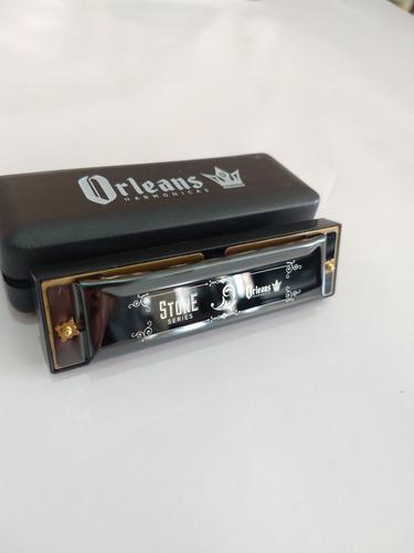 gaita boca harmônica orleans stone diatônica g sol 10 furos