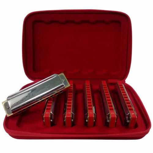 gaitas harmonicas hering free blues  c/6 70120 com estojo nf