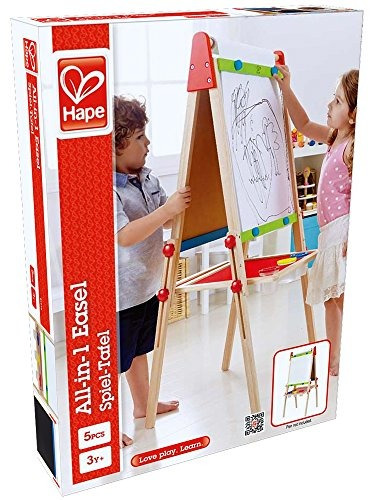 galardonado hape all-in-one wooden's art easel con rollo de