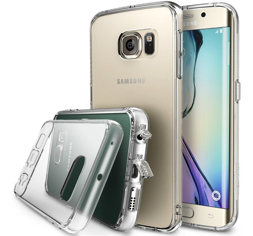 galaxy s6 edge funda clear con tapas premium slim anti golpe