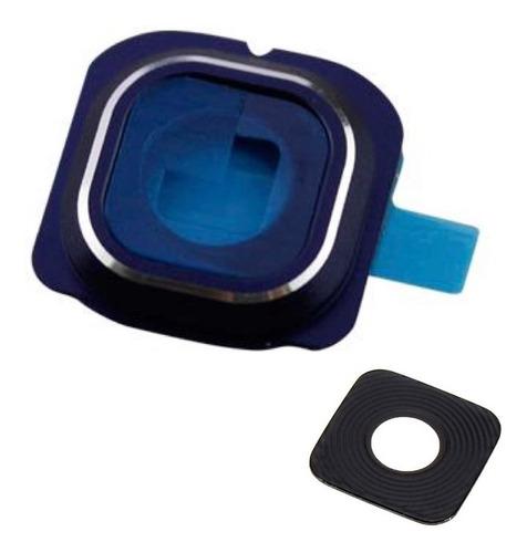 galaxy s6 flat cubierta camara lente cristal marco azul