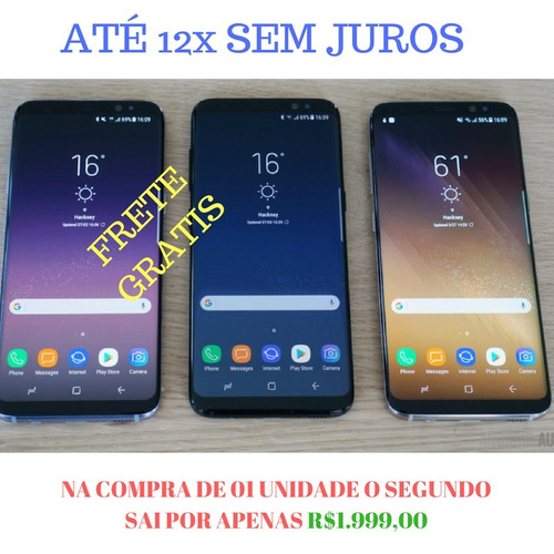 galaxy s8+ plus 64gb + nota + case - na compra de 01un...