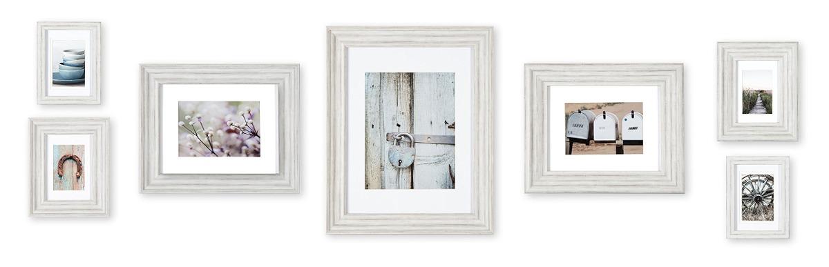 Galería Perfecta 7 Piezas Blanco Angustiado Marco De Fotos ...