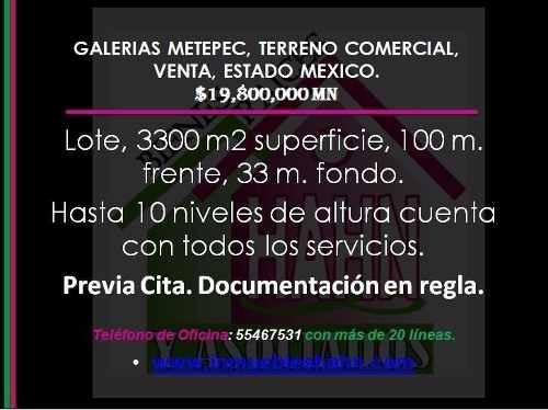 galerias metepec, terreno comercial, venta, estado mexico.