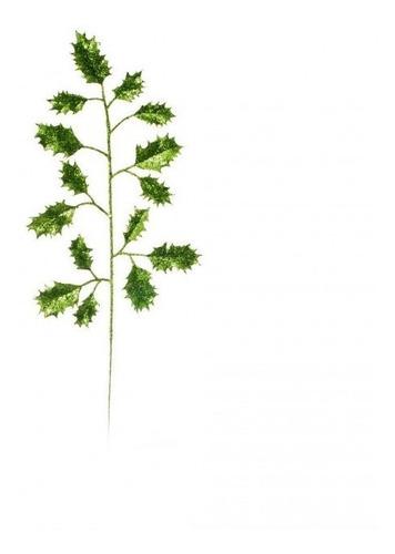 galhos grandes folha com glitter verde 48 cm