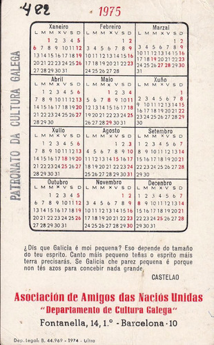 galicia castelao calendario 1975 25 años de su muerte raro
