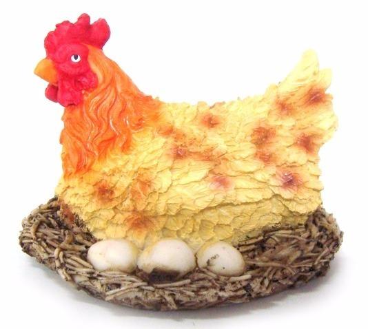 galinha ninho ovos chocando decorativa em resina r 21 90 em