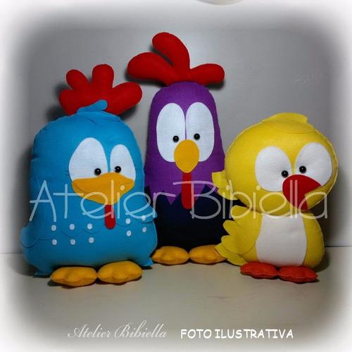 galinha pintadinha 30 cm - kit c/ 6 personagens feltro
