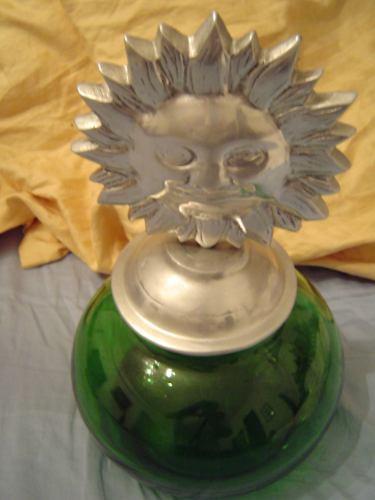 galletero en pewter y vidrio de color importado de mexico