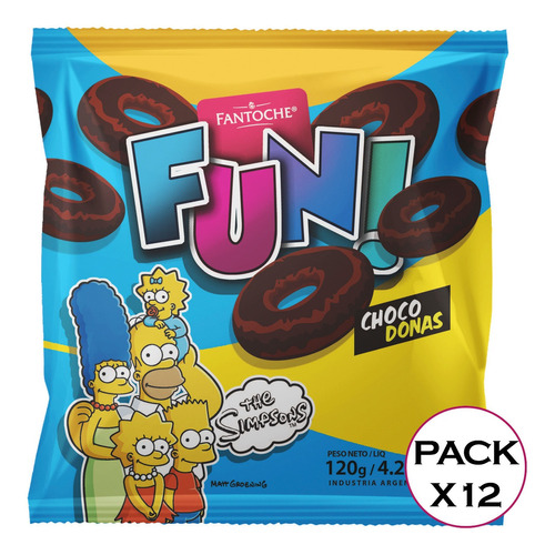 galletitas fun choco donas los simpsons fantoche 120g x12