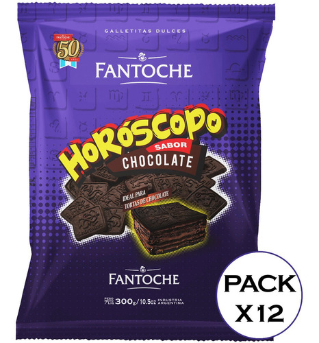 galletitas  horoscopo chocolate fantoche 300g choco caja x12