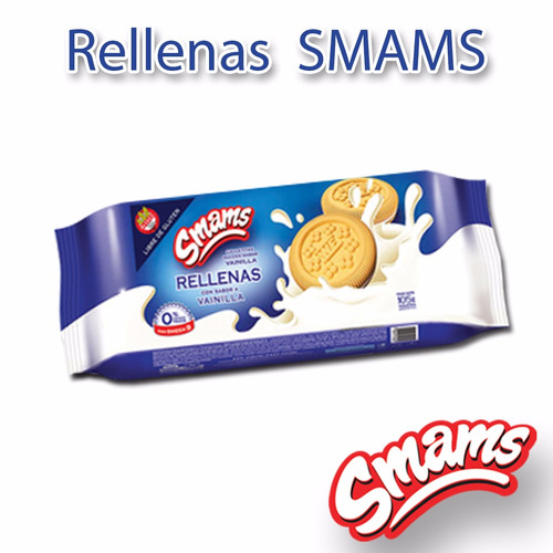 galletitas rellenas dulces libre de gluten smams x 2 cajas