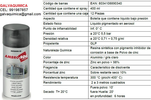 galvanizado 98% zinc en frio brillante spray 400ml galvanox