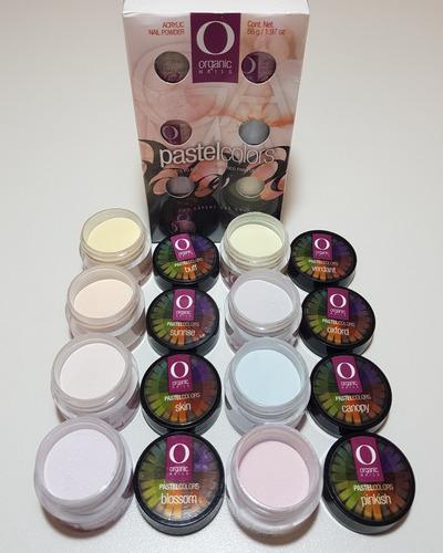 gama organic colors by organic nails 8 frascos de 7grs c/u