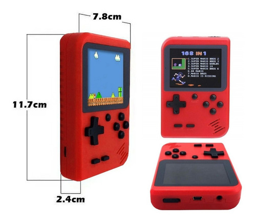 game boy mini consola retro portatil 168 video juegos + obs