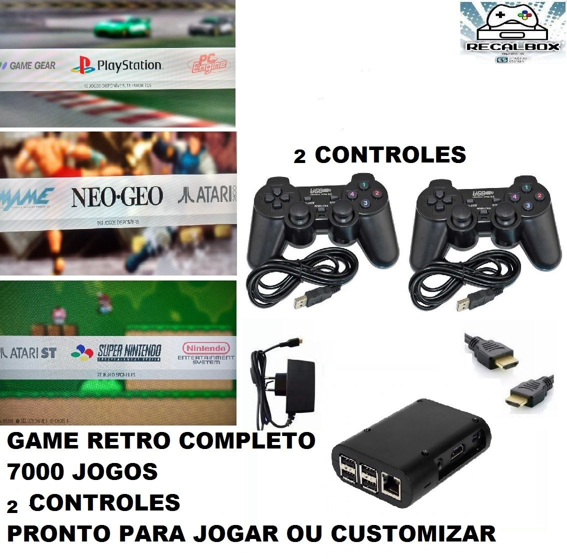 Game Kit Retro Raspberry Pi3 Recalbox 2 Controles 7000 Jogos