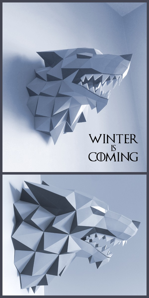 Game Of Thrones Stark Wolf Cabeza De Lobo (para Armar Papel ...