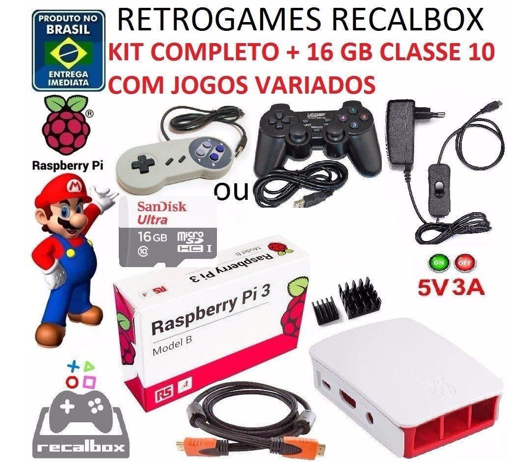 Game Retro Raspberry Pi 3 Recalbox Batocera Controle 16gb