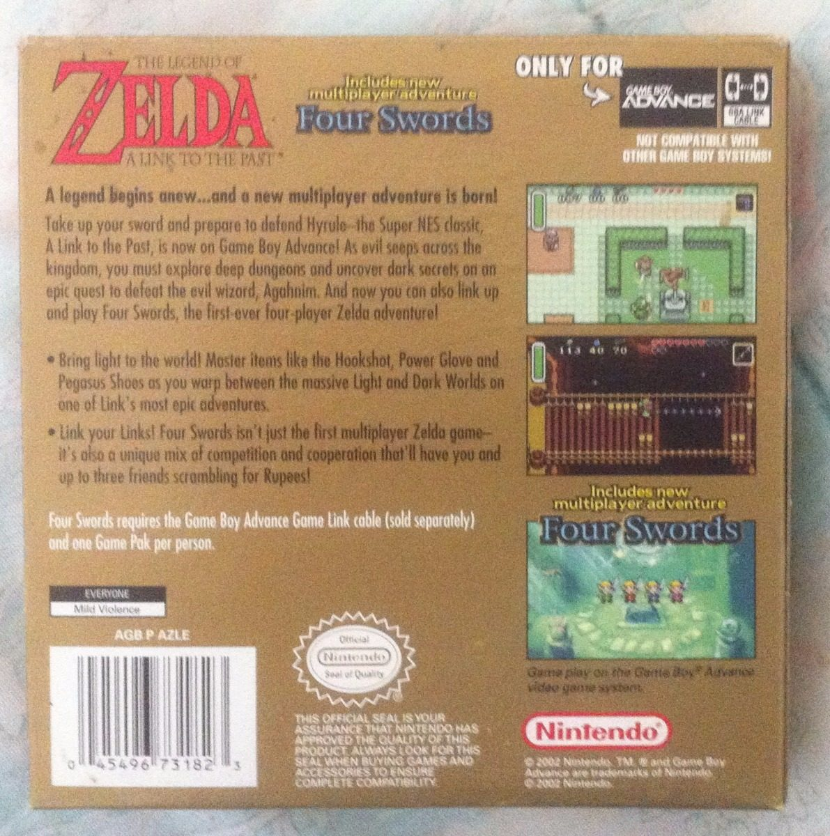 Gameboy Advance: The Legend Of Zelda: A Link To The Past - Bs  1 100 000,00