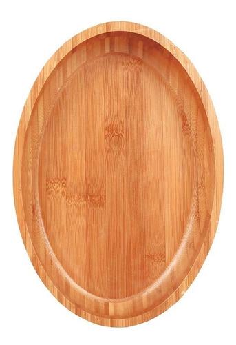 gamela bandeja oval bamboo 33x23cm bambu churrasco mor