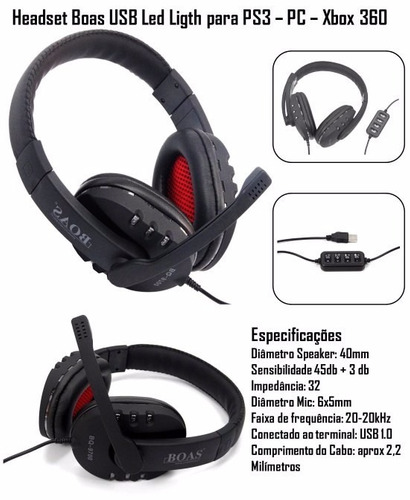 gamer headset microfone bq 9700 usb pc 7.1 led boas 546