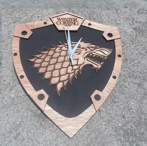 games of thrones casa stark juego de tronos reloj de pared