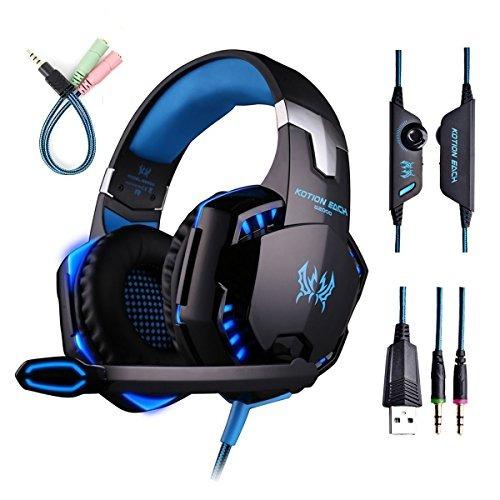 gaming headset con micrófono para pc, ps4, xbox one, auricu