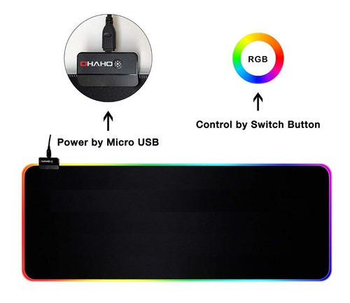 gaming mousepad rgb gamers 14 efectos 800 x 300mm + cuota