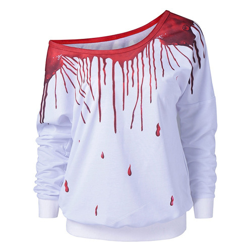 gamiss casual mujer jersey sesgar collar de pintura de goteo