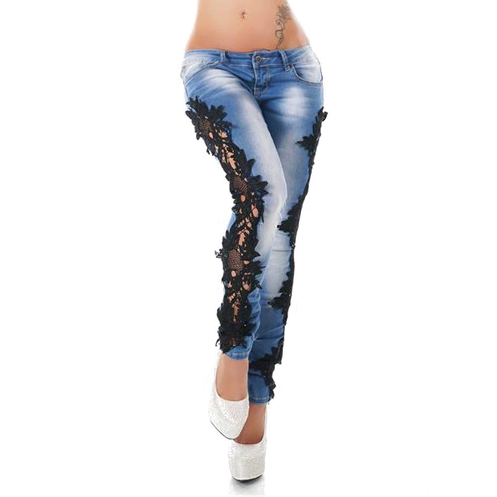 Gamiss Lado Puntadas Encaje Tramo Dril Pantalones Jeans - $ 579.54 ...