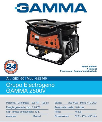 gamma ge3460 grupo electrogeno  2.5kva.  5.5 hp manual