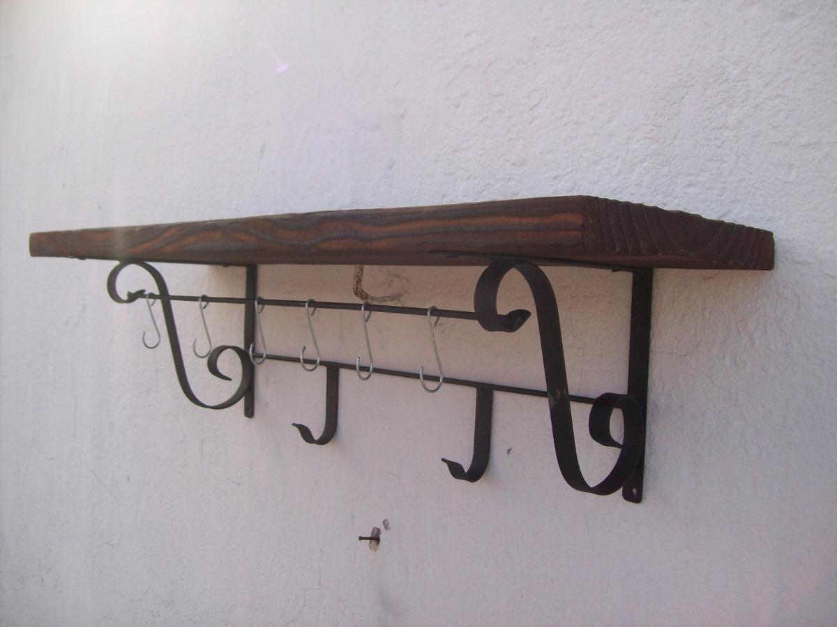 Ganchera repisa madera y hierro 80cm x 25cm nueva 600 for Ganchos para repisas