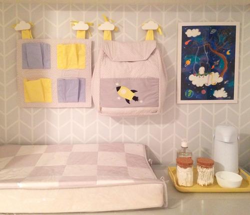 gancho de parede kit com 5 quarto bebê madeira pinus
