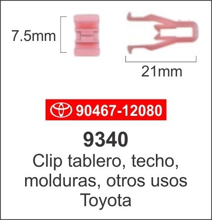 gancho  sujetador clip techo tablero moldura toyota paq 5