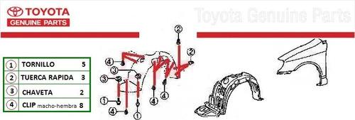 ganchos clips ajusta guardapolvo toyota corolla (13 piezas)