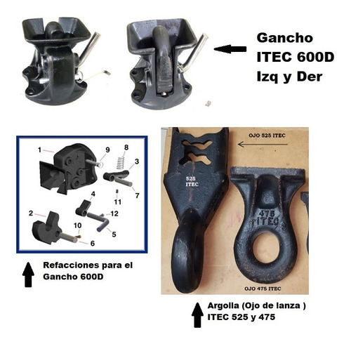 ganchos de arrastre itec 660d , argollas 525 y 475 itec