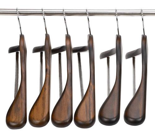 ganchos de madera maciza, 6 unidades, ancho de hombro, resi