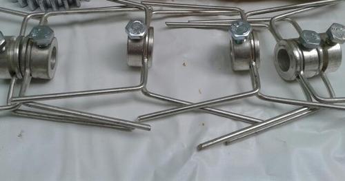 ganchos duplos e simples p/ espeto de frangueira kit 06 pç.