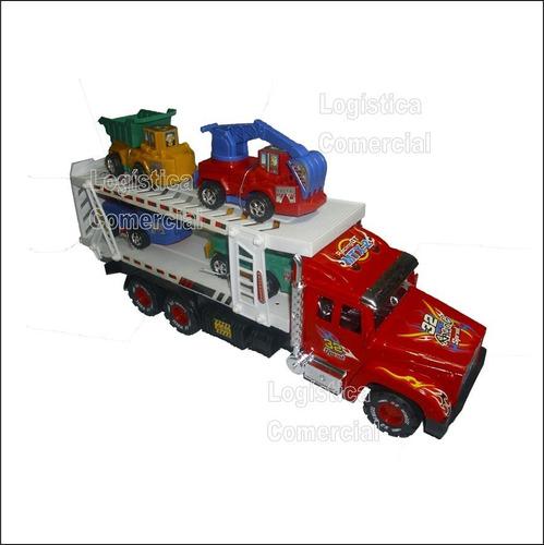 gandola cigueña con carritos camion 23208 incluye 4 carritos
