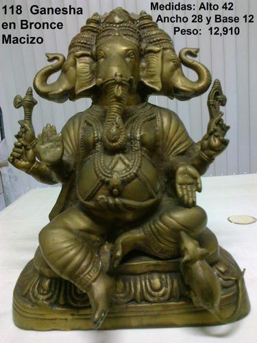 ganesha en bronce macizo, medidas: alto: 42cms, ancho: 28cms