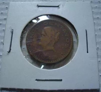 ganga moneda 5 centavos 1943 josefa gde. estados unidos mex.