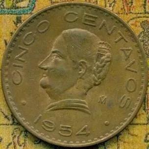 ganga moneda 5 centavos 1954 josefa gde. estados unidos mex.