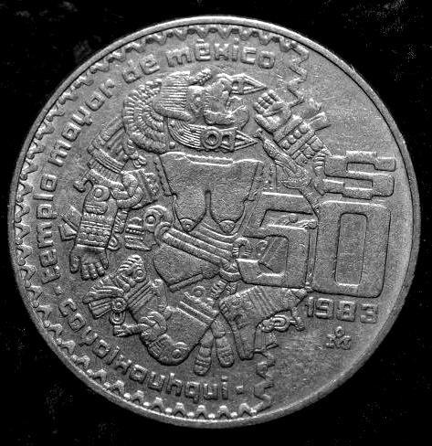 ganga moneda 50 pesos coyolxauhqui del año de 1983 escasa