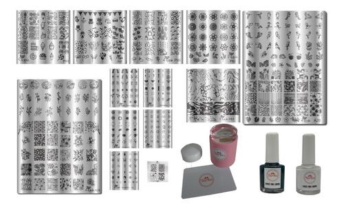 ganhe coleção minimalista  kit placas e carimbos de unhas