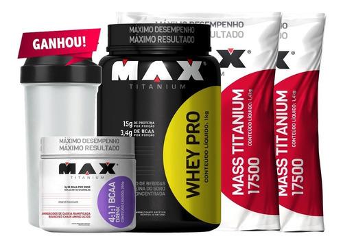 ganho de massa muscular - mass + whey + bcaa - max titanium