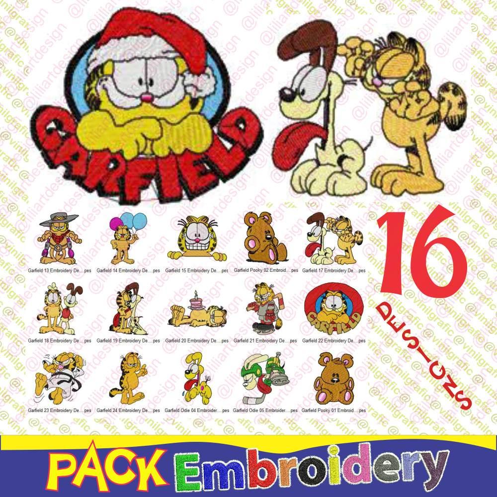 Garfield Vol.2 Kit De 16 Diseños Bordados Costura Patrones - $ 90,00 ...