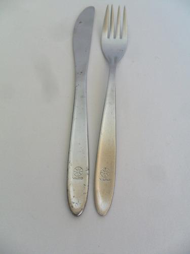 garfo e faca sobremesa com logotipo da varig inox hercules