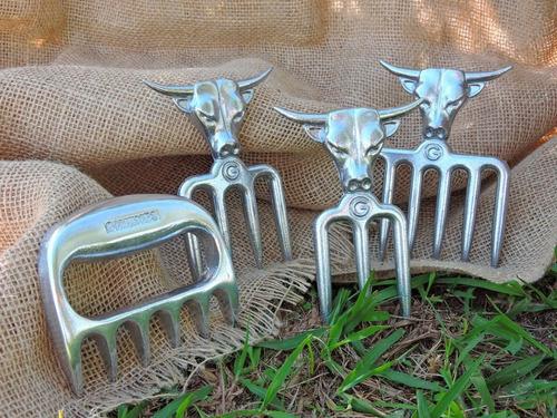 garfo quatro dente com suporte em alumínio churrasco bbq